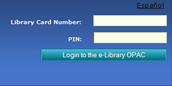 e-Library catalog login screen