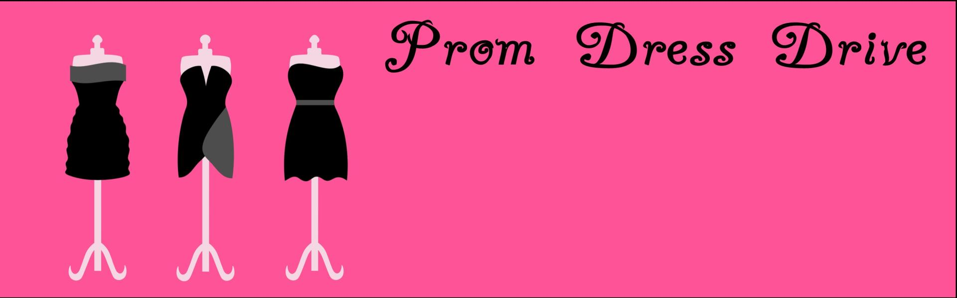 Prom Dress Drive-image of three dress forms with dresses