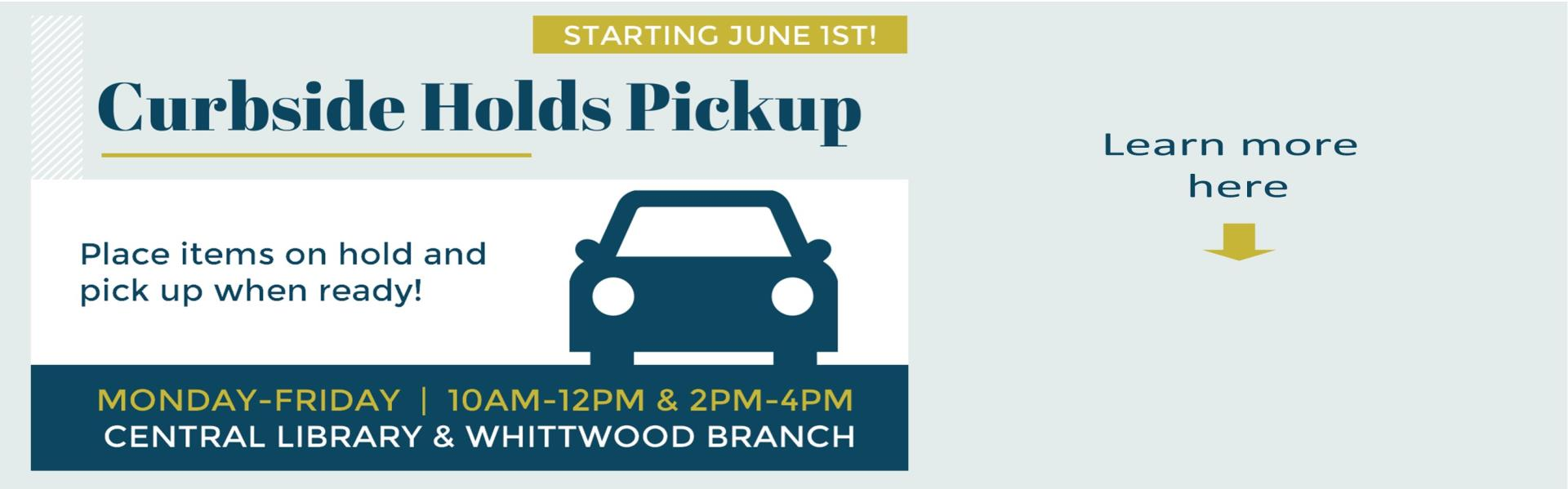 Curbside Holds Pick-Up Services, Place Items on hold with your library card and pick up when ready! Monday - Friday 10am-12pm & 2pm - 4pm beginning June 1st learn more here image of a car